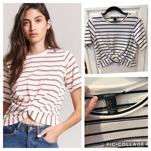 Forever 21 Twist Front Top White Navy Sz S